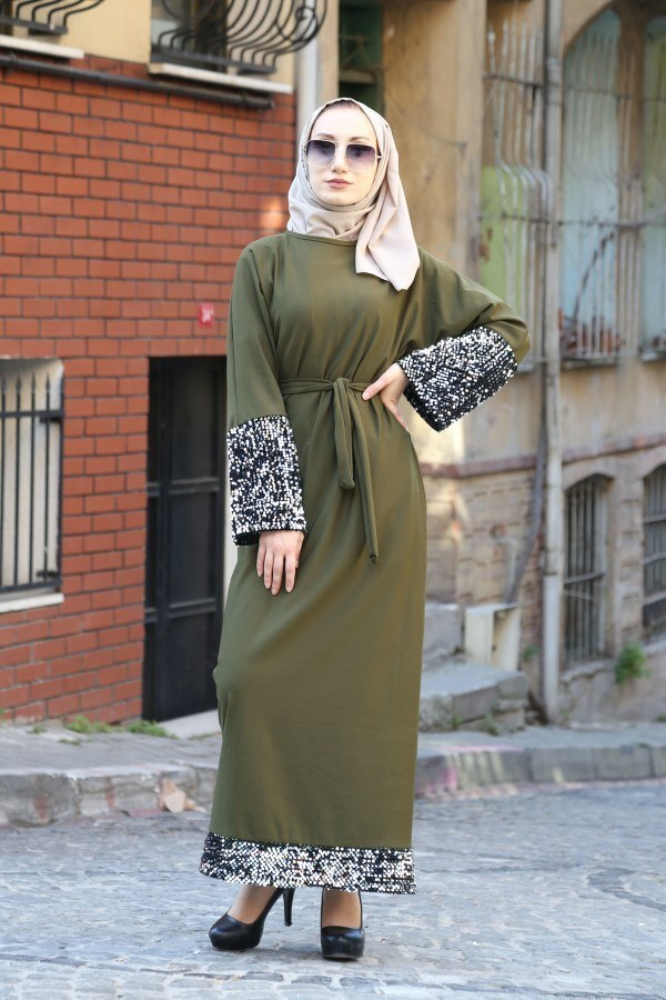 Pul Payet Detaylı Elbise 8350-03