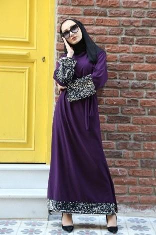 - Pul Payet Detaylı Elbise 8350-04