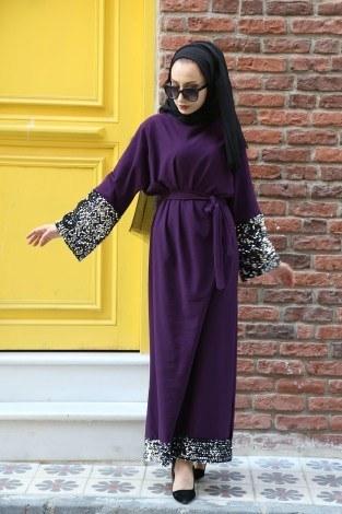 Pul Payet Detaylı Elbise 8350-04 - Thumbnail