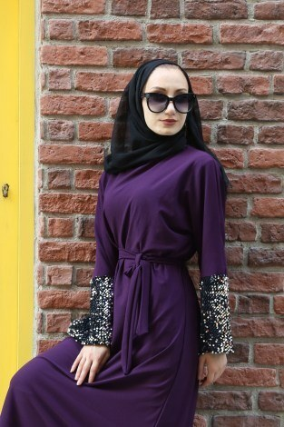 - Pul Payet Detaylı Elbise 8350-04 (1)