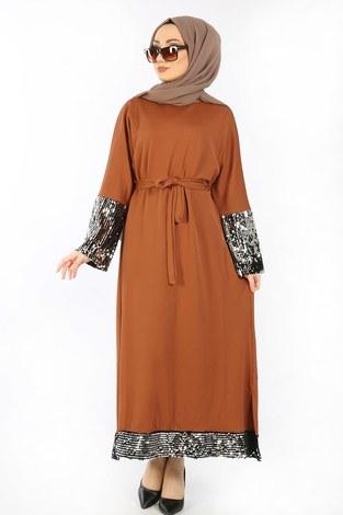 - Pul Payet Detaylı Elbise 8350-06