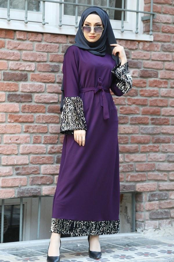 Pul Payet Detaylı Elbise 8350-09