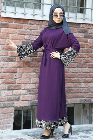 Pul Payet Detaylı Elbise 8350-09 - Thumbnail