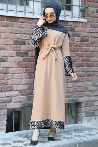 - Pul Payet Detaylı Elbise 8350-08