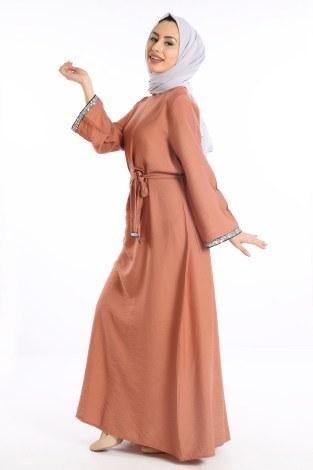 - Pul Payet Detaylı Keten Elbise 5603-07