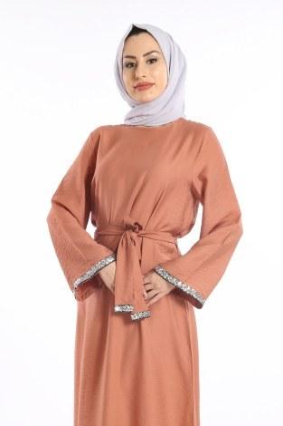 - Pul Payet Detaylı Keten Elbise 5603-07 (1)