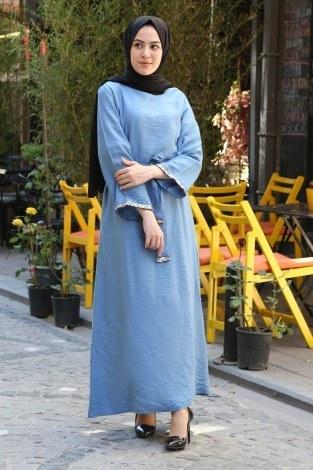 - Pul Payet Detaylı Keten Elbise 5603-08