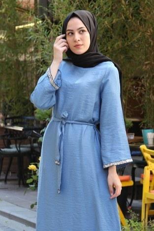 - Pul Payet Detaylı Keten Elbise 5603-08 (1)