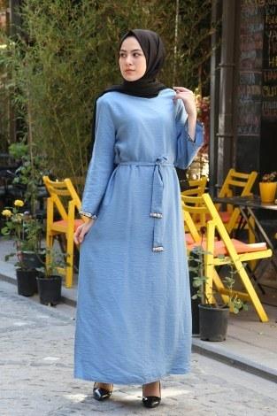 Pul Payet Detaylı Keten Elbise 5603-08 - Thumbnail