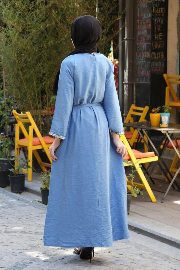Pul Payet Detaylı Keten Elbise 5603-08