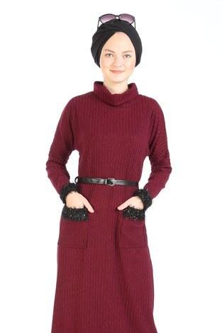 Pul Payet Detaylı Elbise 1389-03 bordo - Thumbnail