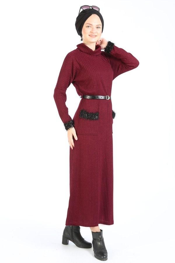 Pul Payet Detaylı Elbise 1389-03 bordo