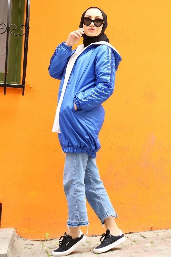 Pul Payet detaylı yağmurluk mont HBS8869-20 saks