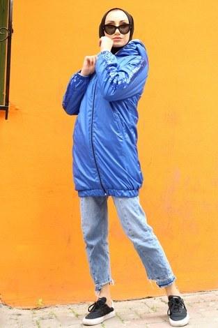 Pul Payet detaylı yağmurluk mont HBS8869-20 saks - Thumbnail