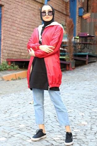 - Pul Payet detaylı yağmurluk mont HBS8869-05 kırmızı