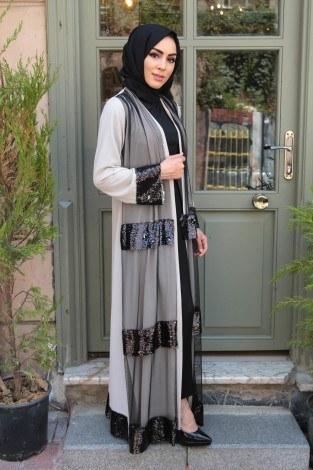 Pul Payet ve Tül Detaylı Abaya Ferace 12165-1 - Thumbnail