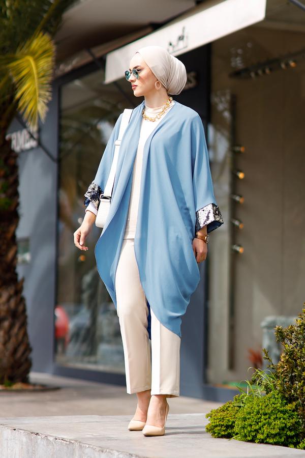 Pul Payetli Kimono 530GK-11933 Bebe Mavisi