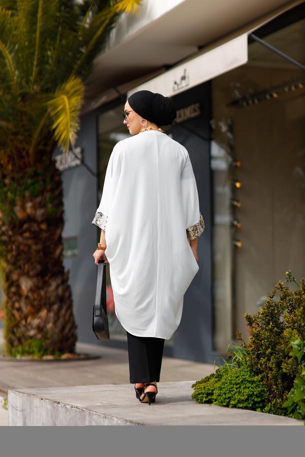 Pul Payetli Kimono 530GK-11933 Beyaz