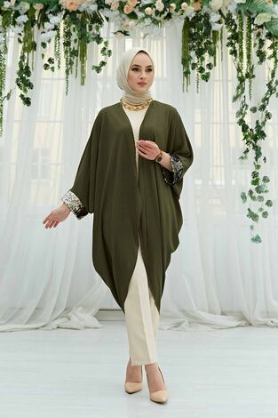 Pul Payetli Kimono 530GK-11933 Haki - Thumbnail