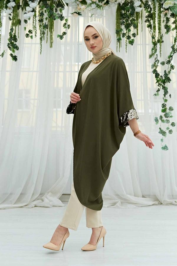 Pul Payetli Kimono 530GK-11933 Haki