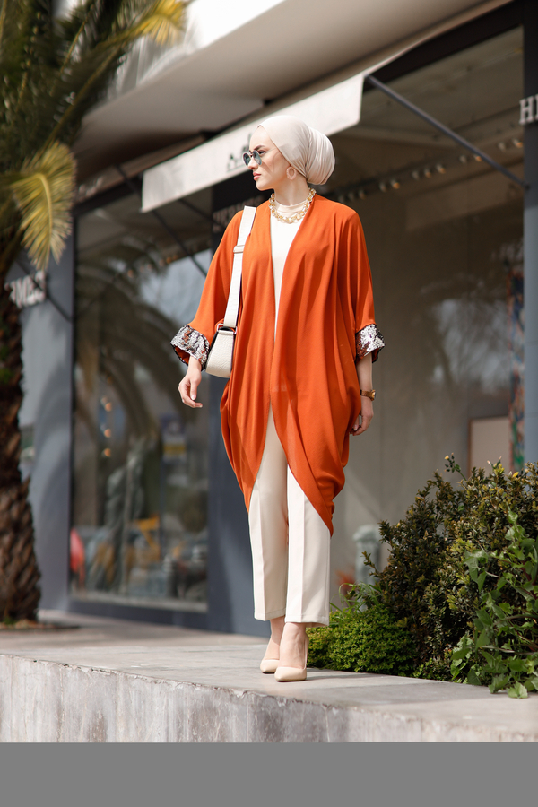 Pul Payetli Kimono 530GK-11933 Kiremit
