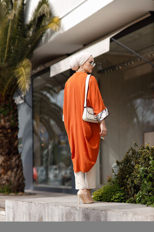 Pul Payetli Kimono 530GK-11933 Kiremit - Thumbnail