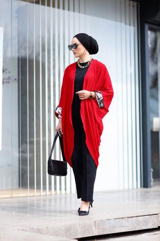 Pul Payetli Kimono 530GK-11933 Kırmızı - Thumbnail