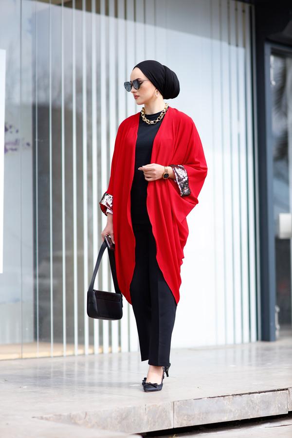 Pul Payetli Kimono 530GK-11933 Kırmızı