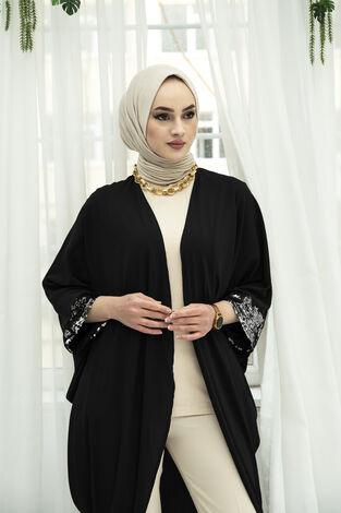 Pul Payetli Kimono 530GK-11933 Siyah - Thumbnail