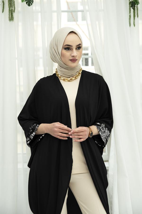 Pul Payetli Kimono 530GK-11933 Siyah