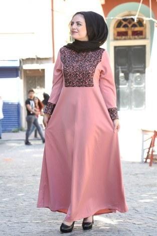 Pullu abiye Elbise 44897-08 - Thumbnail