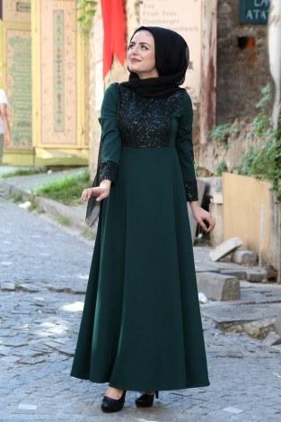 Pullu abiye Elbise 44897-07 - Thumbnail