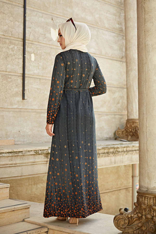 Puantiye Detaylı Elbise 190E-1789 Füme - Thumbnail