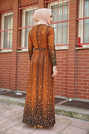 Puantiye Detaylı Elbise 190E-1789 Taba - Thumbnail