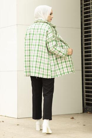 Püsküllü Ekose Desen Tesettür Ceket Yeşil - Thumbnail