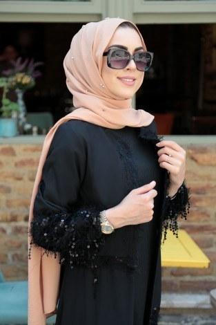 - Püsküllü Pul Payetli Abaya Ferace 12110-1 (1)