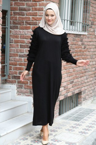 - Püsküllü Triko Elbise 1020-01 siyah