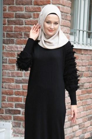 - Püsküllü Triko Elbise 1020-01 siyah (1)