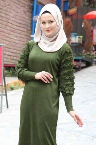 - Püsküllü Triko Elbise 1020-04 haki (1)