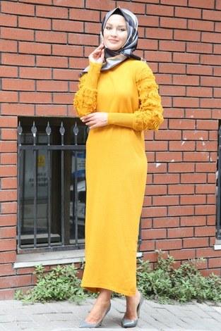 - Püsküllü Triko Elbise 1020-10 sarı