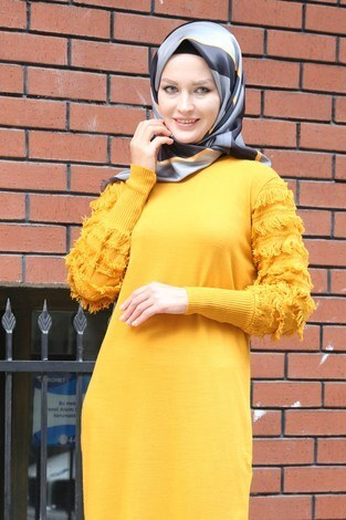 - Püsküllü Triko Elbise 1020-10 sarı (1)
