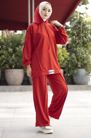 Rahat Kesim Eşofman Takımı Kırmızı - Thumbnail