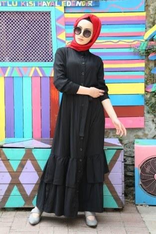 - Boydan Düğmeli Etekleri Fırfır Elbise 2097-01 (1)