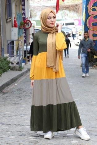 - Renk Katmanlı Elbise 5489-06