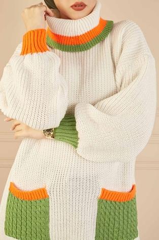 Renkli Boğazlı Triko Kazak 190E5422 Ekru - Thumbnail