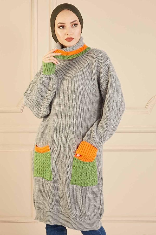 Renkli Boğazlı Triko Kazak 190E5422 Gri