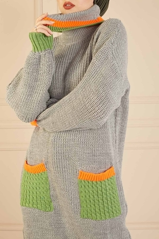 Renkli Boğazlı Triko Kazak 190E5422 Gri - Thumbnail