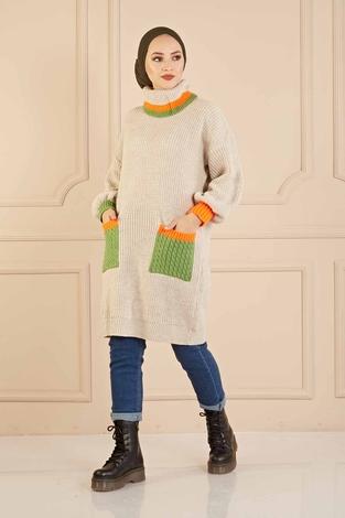 Renkli Boğazlı Triko Kazak 190E5422 Taş - Thumbnail
