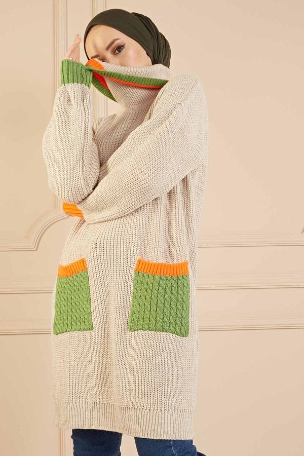 Renkli Boğazlı Triko Kazak 190E5422 Taş
