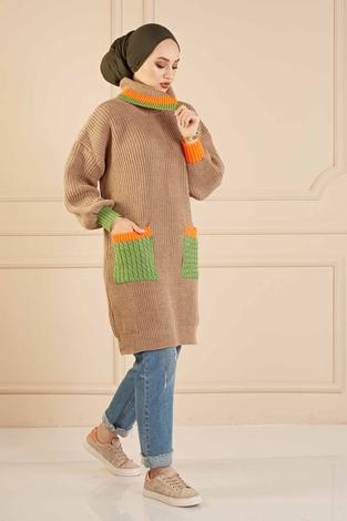 Renkli Boğazlı Triko Kazak 190E5422 Vizon - Thumbnail